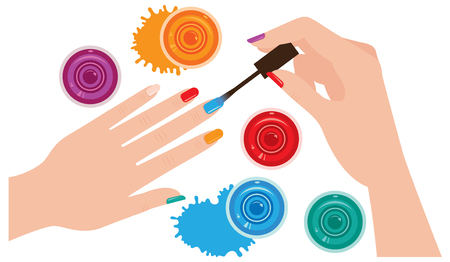 Woman hands with manicure closeup coloring nails bright nail Stock vector illustration. View from above. Illustration