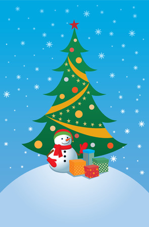 gift season: Christmas greeting card with snowman standing near a Christmas tree with gift box