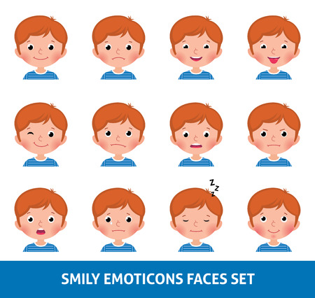 child boy: Boy child cute emoji, set smily emoticons faces illustration Illustration