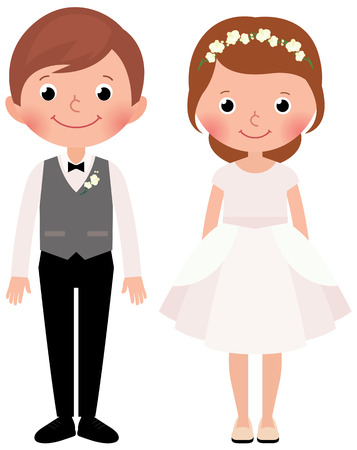 vows: cartoon illustration of a happy couple newlyweds bride and groom Illustration