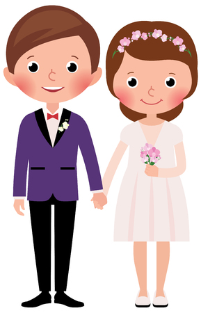 vows: Happy just married bride and groom in full growth on a white background Stock cartoon illustration Illustration