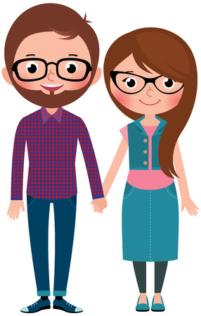 adolescent sexy: Loving couple man and woman dressed as hipsters Stock cartoon illustration