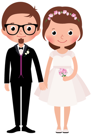 vows: Happy couple newlywed bride and groom Stock cartoon illustration Illustration