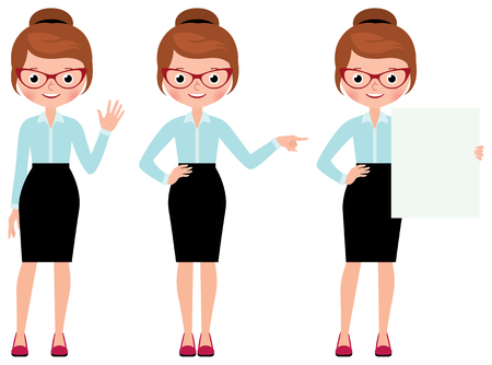 full length woman: Business woman isolated on white background in full length in different poses making various gestures Stock Vector cartoon illustration