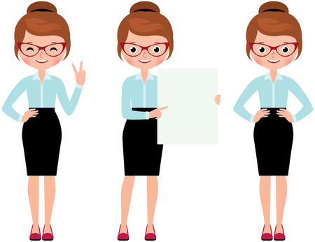 full length woman: Business woman isolated on white background in full length in various poses to do different gestures Stock Vector cartoon illustration Illustration