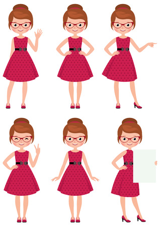 Vector illustration set of cartoon young woman in different poses doing different gestures Vettoriali