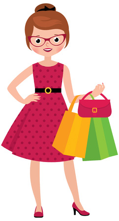 happy shopper: Stock vector illustration Young woman of fashion holding shopping bags in her hand