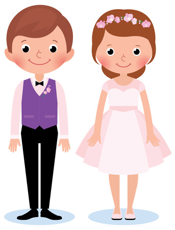 Stock Vector illustration of a happy couple newlywed bride and groom on a white background in wedding dresses