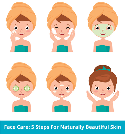 skin care woman: Stock vector cartoon illustration young woman taking care of her face skin in 5 beauty steps