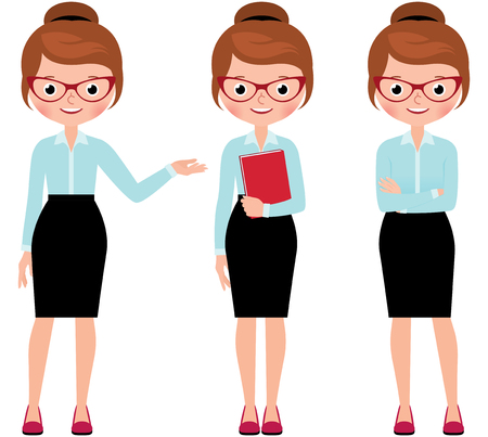 full length woman: Business woman in full length isolated on a white background in different poses making various gestures Stock Vector cartoon illustration