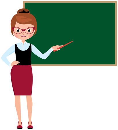 school: Woman teacher in full length standing at the school blackboard and holding a pointer Stock vector illustration