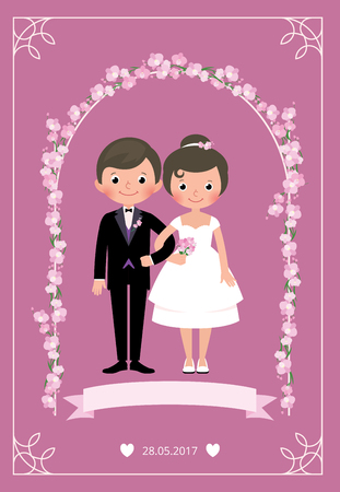 Bride and groom in a wedding dress standing under an arch of flowers holding arm Stock vector illustration