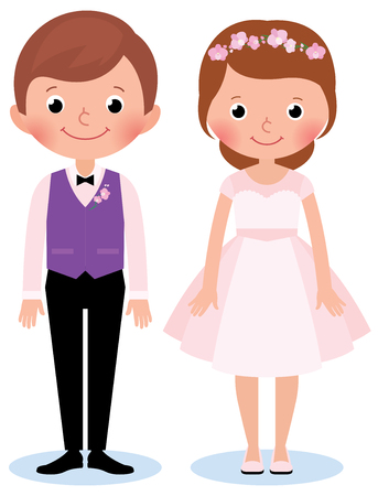 dating and romance: Stock Vector illustration of a happy couple newlywed bride and groom on a white background in wedding dresses