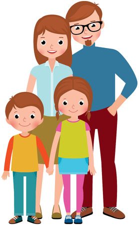 parent and teenager: Stock vector illustration of a family portrait of parents and their children, son and daughter