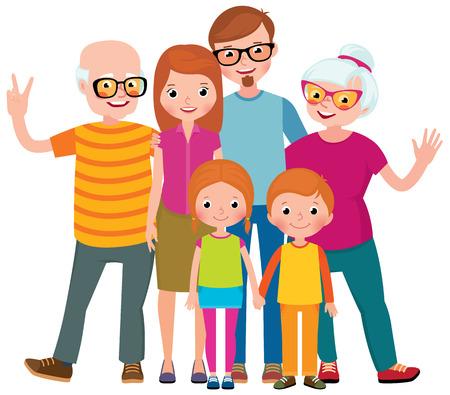family: Family portrait of three generations parents children and grandchildren on white background stock vector illustration