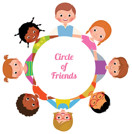 Happy Cheerful children girls and boys in the circle of friends Stock vector cartoon illustration Illustration