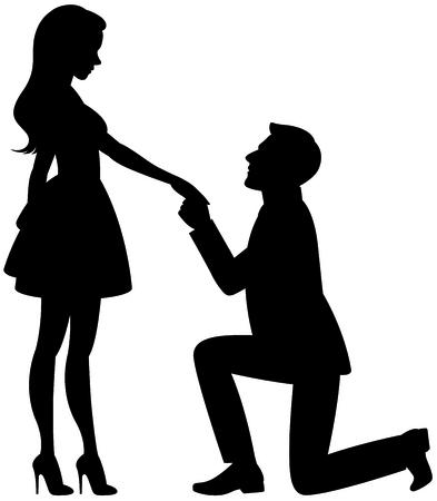 白い背景のベクトル図に愛の男女のシルエット