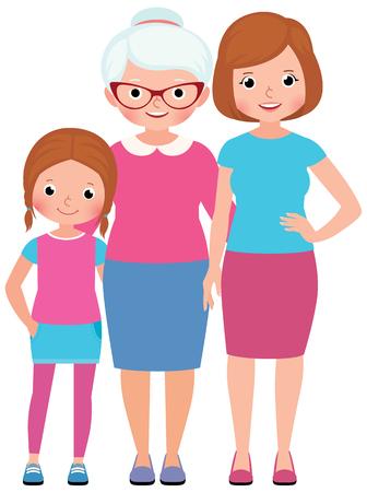 familias unidas: Familia hija de la madre y la abuela retrato de tres generaciones de mujeres de la ilustración del vector