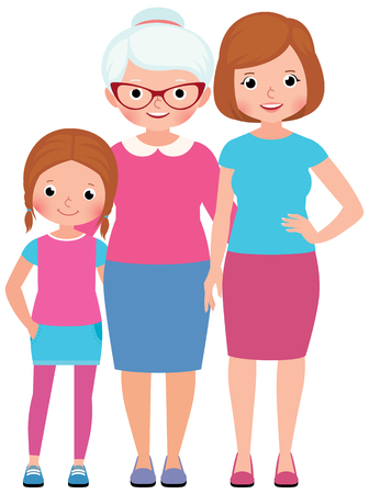 happy woman: Family portrait Daughter mother and grandmother three generations of women Stock vector illustration
