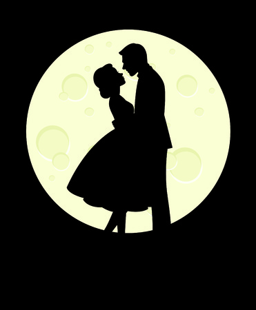 happy couple: Silhouette of man and woman in love hugging on the background of the full moon vector illustration