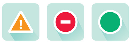 permitting: Stop sign and attention and allowing set of flat icon Stock vector illustration