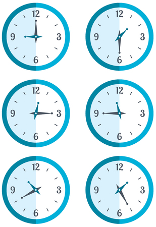 hung: Set wall hung round clock showing different time Stock vector illustration