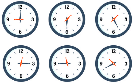 wall mounted: Set wall mounted round clock showing different time Stock vector illustration