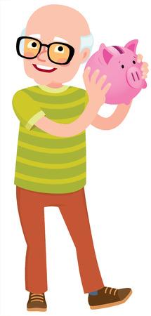 Senior man holding a piggy bank for the money and check their savings vector cartoon illustration Illustration