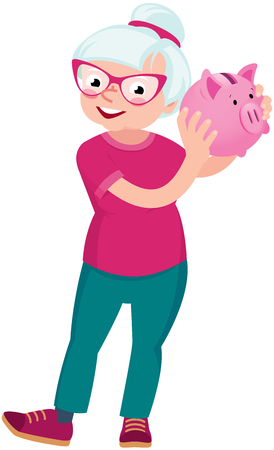 woman holding money: Senior woman holding a piggy bank for money vector cartoon illustration