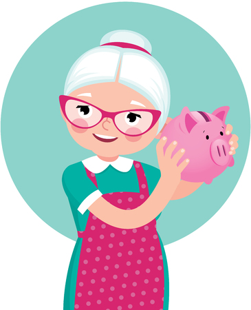 Grandmother a pensioner in an apron shakes a piggy bank in the form of a pig stock vector cartoon illustration