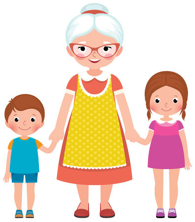 男の子と女の子、若い孫たちの手を握って、エプロンのメガネで祖母とベクトル イラスト