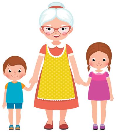 Abuela con gafas y un delantal sosteniendo las manos de sus nietos pequeños niño y niña ilustración vectorial
