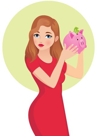 Young woman holding and shaking a piggy bank for the money vector illustration