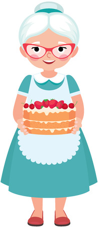 grey hair: Elderly housewife grandmother wearing glasses and apron holding a homemade cake cartoon vector illustration Illustration