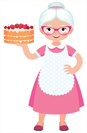 Grandma housewife in full length holds a baked beautiful cake cartoon vector illustration