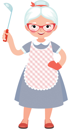 one people: Senior lady cook in full length in an apron and with a ladle in her hand vector illustration