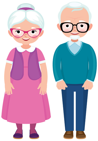 mature men: Senior married couple husband and wife in full length cartoon vector illustration Illustration