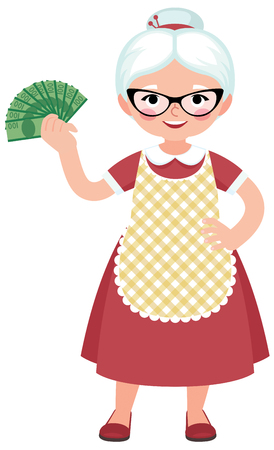 Senior woman housewife in full length dressed in an apron and glasses holding a bundle of money vector cartoon illustration Illustration