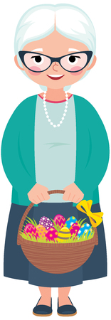 Senior woman holding a basket full of Easter eggs in her hand cartoon vector illustration
