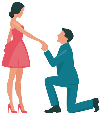 Loving couple woman and man kneeling in profile flat vector illustration