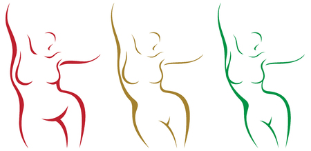 Set of stylized female body overweight and after weight loss vector illustration