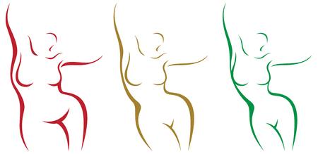 Conjunto de sobrepeso estilizado del cuerpo femenino y después de la ilustración de vector de pérdida de peso