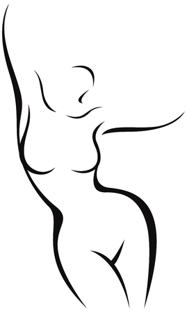 Stylized nude female body in the form of a linear silhouette vector illustration 일러스트