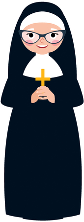 Elderly catholic nun in traditional monastic clothes with a cross in hands cartoon vector illustration
