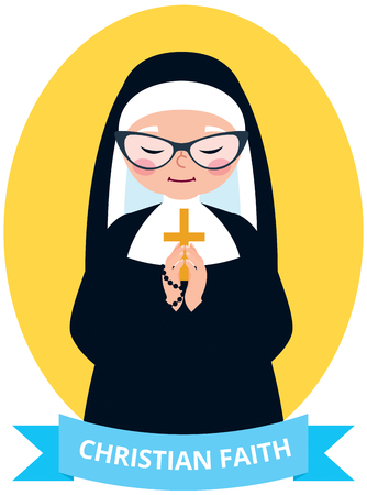 Emblem of an old Christian nun praying vector illustration