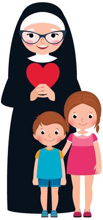 Senior nonnen en kinderen meisje en jongen cartoon vector illustratie