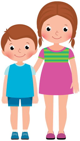 two child: Children brother and sister stand in full length Illustration