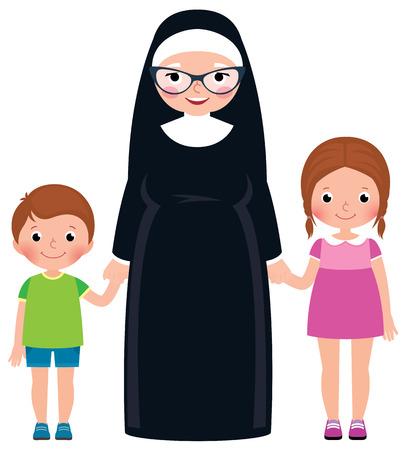 Hogere nonholding handenjongen en meisjes vectorillustratie van het kinderen de vectorbeeldverhaal