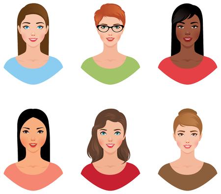 Stellen Sie Avatarafrauen von verschiedenen Nationalitäten mit verschiedenen Farben der Haut- und Haarvektorillustration ein