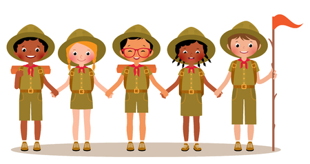 Group of children boys and girls scouts in the uniform